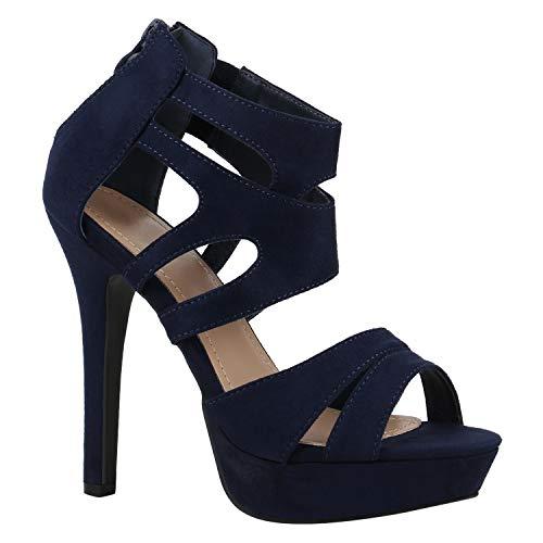 Stiefelparadies Damen Plateausandaletten Stilettos Cut-Outs Schuhe Sandaletten 172766 Dunkelblau Blau 40 Flandell Cut Out Stiletto