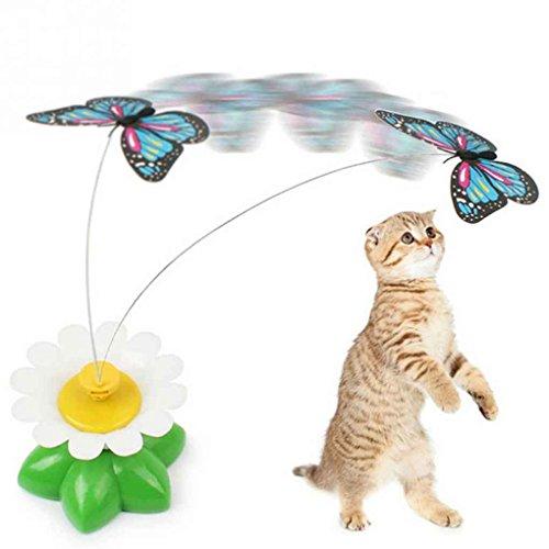 Fangfeen Spielzeug elektrisch drehender Schmetterling Kitten Wiedergabe Sitz Scratch Teaser Stahldraht Haustier Hund Katze Spielzeug (zufällige Farbe)
