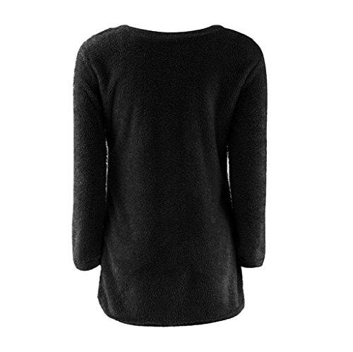 Vovotrade Mode Femmes Décontractée Solide Pull à Manches Longues Blouse Noir