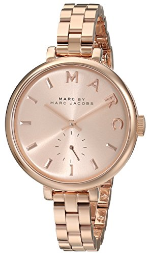 Marc Jacobs Women's Quartz Watch with Rose Gold Dial Analogue Display and Rose Gold Stainless Steel Bangle MBM3364