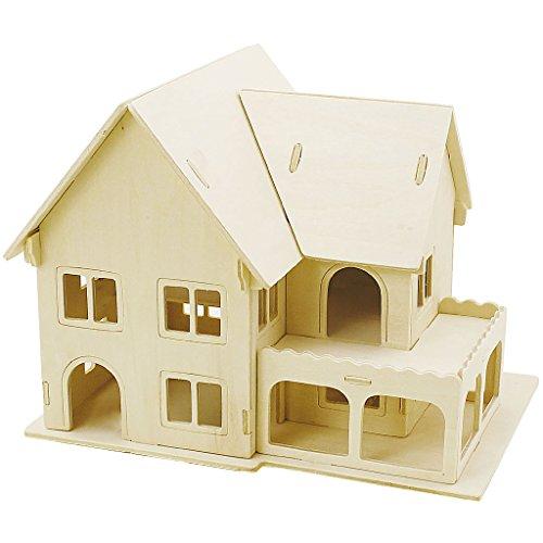 3D-Holzpuzzle, Haus mit Veranda, Größe 22,5x16x17,5 , Sperrholz, 1Stck