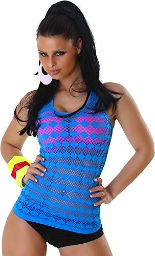 Sexy Damen Shirt Netzshirt Tanktop Top T-Shirt Türkis