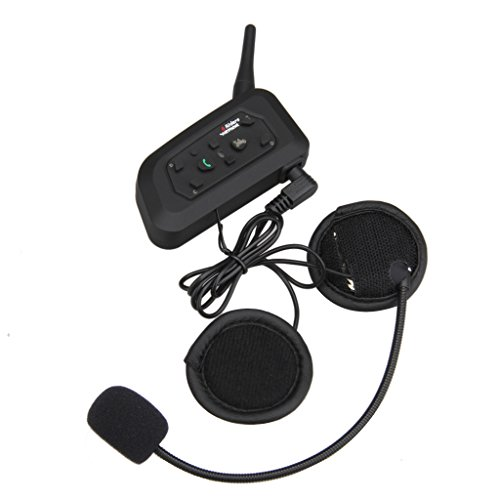 Excelvan V6 Pro Auriculares Intercomunicador Bluetooth para Casco de Motocicleta Moto Intercom Headset 1200M, (Intercomunicacion Entre 6 Motociclistas, Enchufe de EU BT)