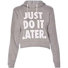 Mujeres Just Do It Later Print sudadera con capucha recortada Top trabajo gimnasio UK 8–14