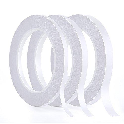 Kuuqa 3 rollos de cinta adhesiva de doble cara Cinta adhesiva fuerte para el arte de bricolaje de la oficina, 30 metros de largo, 6 mm / 9 mm / 12 mm de ancho