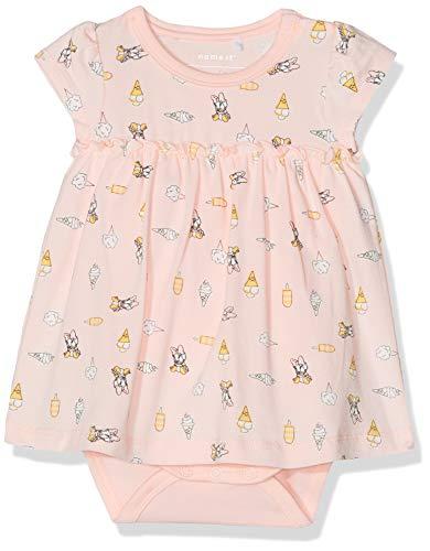 NAME IT Baby-Mädchen Nbfdaisy Ange Ss Dress Wdi Kleid, Mehrfarbig (Strawberry Cream), (Herstellergröße: 74)