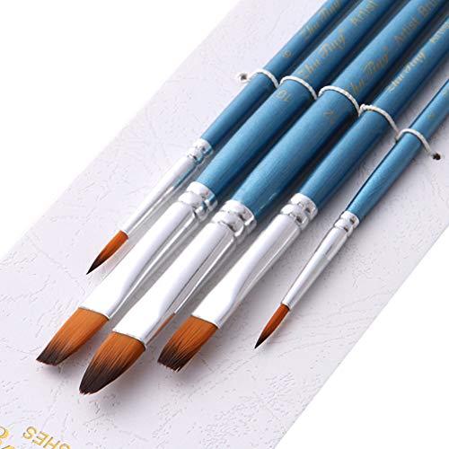 HYhy 5Pcs Malpinsel spitze langen Griff Malpinsel perfekt für Malerei Leinwand Aquarell Acryl für Anfänger Künstler, Glitter blau -