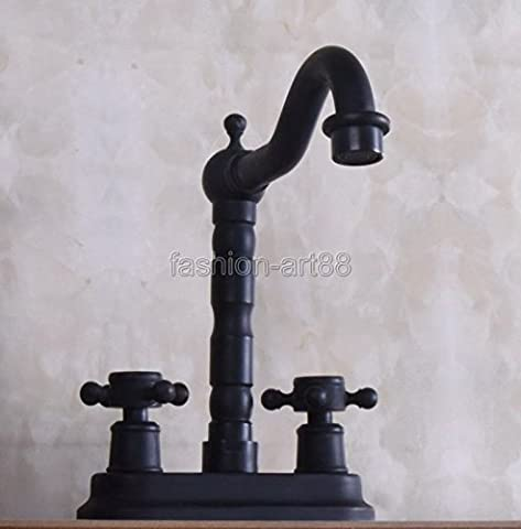 TougMoo Dual Cross Handles Black Oil Rubbed Bronze Swivel Spout Kitchen Bar Sink Bathroom Two Holes Basin Faucet Mixer Tap