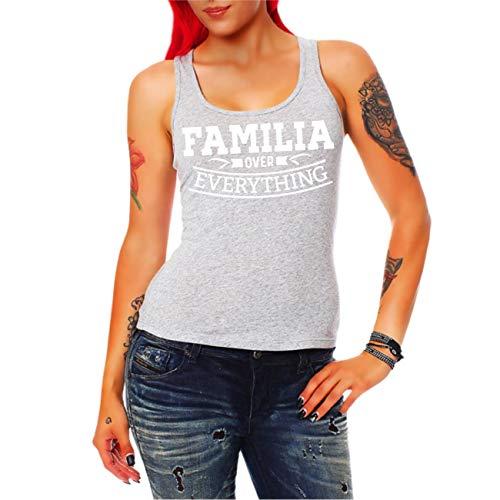 Spaß kostet Frauen und Damen Trägershirt Familia Over Everything (mit Rückendruck) Größe XS - 3XL