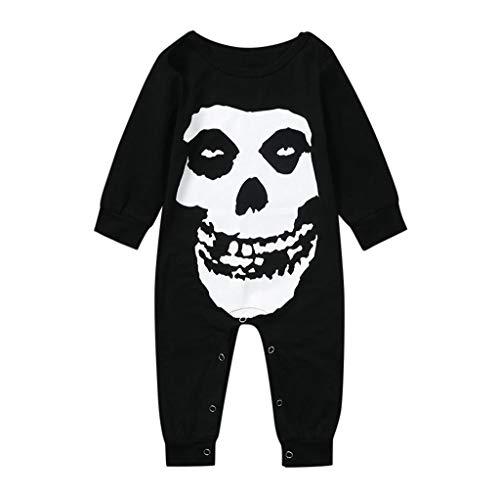 Baby Langarm Print Print Jumpsuit Rock Infant Baby Girl Kids Halloween Streifen Ärmel Bone Print Prinzessin Kleid