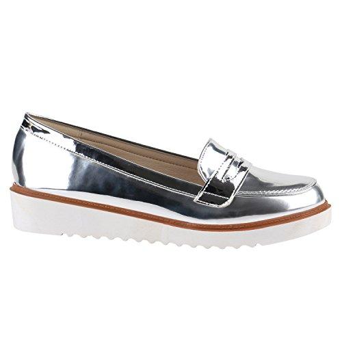 Stiefelparadies Damen Slipper Lack Plateau Loafers Loafer Flats Glitzer Slippers Quasten Lochung Schuhe 139190 Silber Lack 40 Flandell