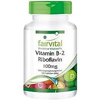 Vitamin B2 Riboflavin 100mg - GROSSPACKUNG für 100 Tage - VEGAN - HOCHDOSIERT - 100 Tabletten