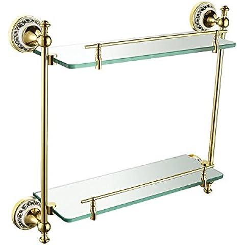 ownace accesorios de baño de estilo victoriano para estante de cristal accesorio de baño montado en la pared, latón, dorado, Double Glass Shelf