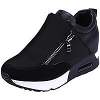 Botas, Manadlian Zapatillas de deporte de mujer Deportes Correr Senderismo Zapatos de plataforma de fondo grueso (EU:39, Negro)