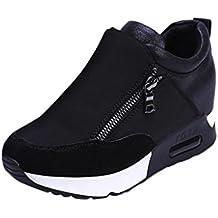 Botas, Manadlian Zapatillas de deporte de mujer Deportes Correr Senderismo Zapatos de plataforma de fondo grueso (EU:37, Negro)