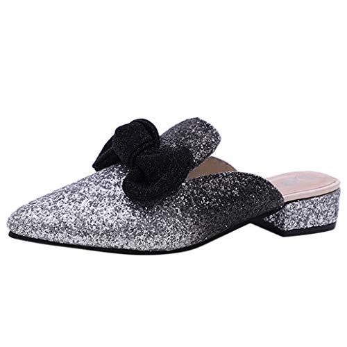 ❤️ Damen Pumps, Amlaiworld Super glänzende, Rutschfeste Einzelschuhe mit niedrigem Absatz tragen große Damenschuhe Bow Wild Damen Sandale -