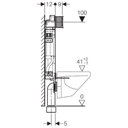 Geberit 110.374.00.5-Rack Kombifix mit seidglanz 12cm (Sigma UP320), Höhe 108cm