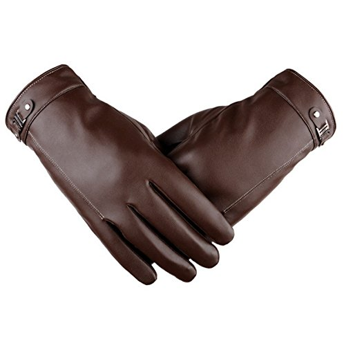 Mme Gants En Cuir Mâle Hiver Vent Froid Et Chaud Plus Toucher Velours épais brown