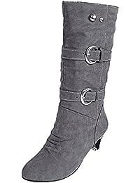 Scothen Damen Herbst Winter Elegant Beiläufig Flache Schuhe Stiefel Slouchy  Schneestiefel Lange Stiefel Stiefel Frauen Elegant Plüsch… 8c87785909