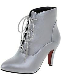 Easemax Damen Glanz Spitze Zehe High Heels Stilettos Stiefel Pumps Silber 42 EU 9y1fX2