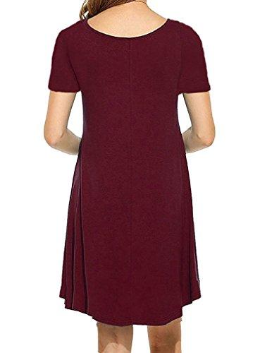 POSESHE Damen Mini Kleid Rundhals Kurz / Langarm Stretch Basic Kleider(Size 36-42) 2Weinrot