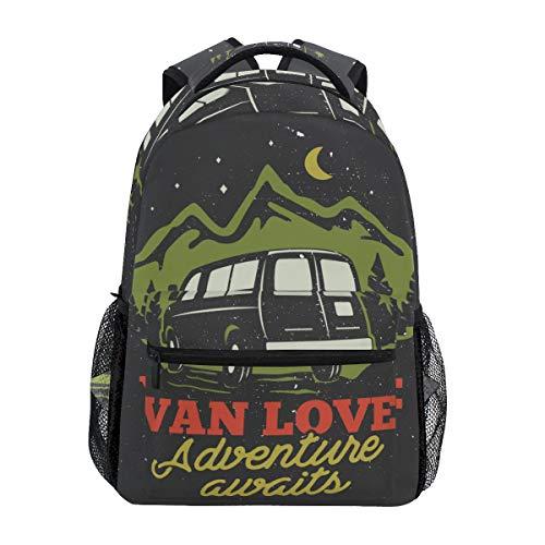 SIONOLY Rucksack,Handgezeichnete Camp Logo Abzeichen,Neu Lässige Daypack School Bookbag Verstellbare Umhängetaschen Reiserucksack -