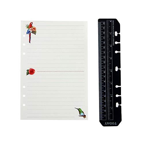 YHH A5 Notebook Einlagen/Refill, 6 Löcher, Ringbücher Papier mit Lineal, Ruled/Liniert/Lined, Notizpapier für 6-Ring Binder, Notizbücher Organizer Terminplaner Mappe, Reisetagebuch, elfenbein weiß