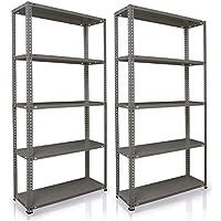 NAWA Home & Work Estantes de almacenamiento, paquete de 2, estantería para el sótano/estantería para taller/estantería para garaje, estantería práctica y versátil (180x90x30Grey)