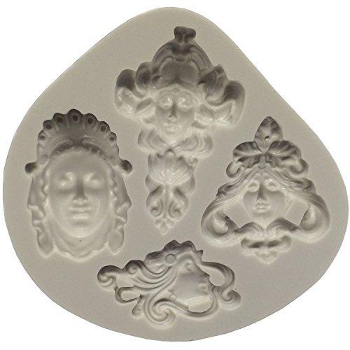 musykrafties Jugendstil Stil Hindu deities Gesichter Fondant Silikonform für Sugarcraft,Kuchen Dekoration,Cupcake Deckel,Schokolade,Schmuckschachteln,Polymer tonboden,Seifenherstellung,Basteln (Polymer-ton-kuchen-deckel)