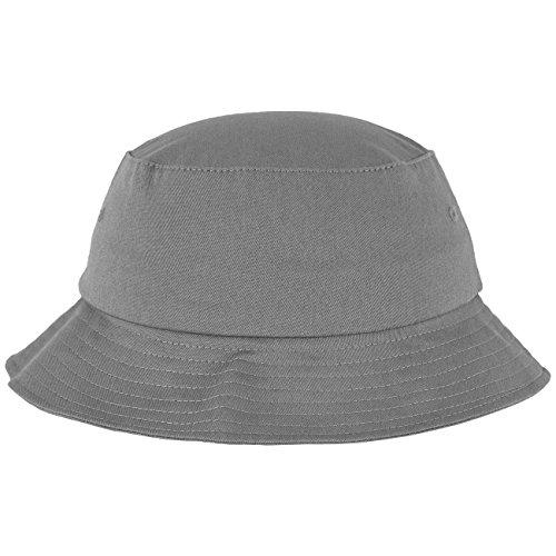 Flexfit Cotton Twill Bucket Hat - Unisex Anglerhut für Damen und Herren, einfarbig, mit patentiertem Band, Farbe Grau, one size
