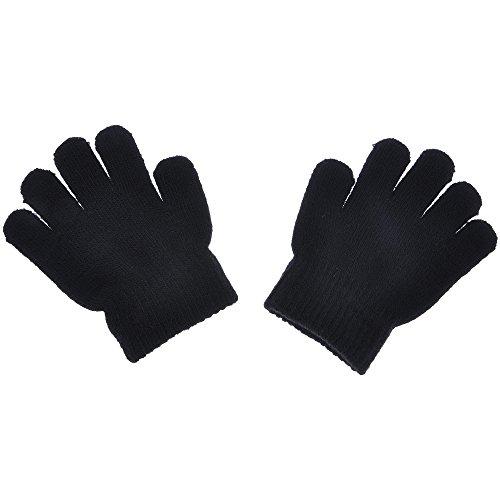 Warm Vollfinger Handschuhe Acryl Weiche Feste Stricken Kinder Handschuhe Schwarz ()