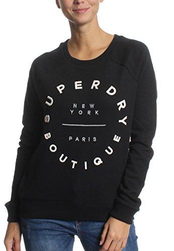 Superdry Sweatshirt Damen Applique Raglan Crew Black, Größe:XL - Raglan Hoodie Sweatshirt