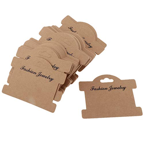 P Prettyia 100 Stück Sortiert Stil Haarspange Karte Papier Schmuck Display Karten Papier Blank Haarnadel Haarband Paket Karten - Kraftpapier, 95x75mm