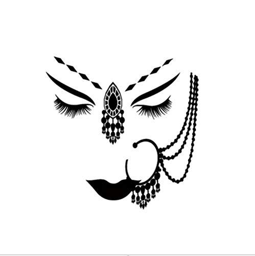 Zfkdsd Vinyl Wall Decal Indien Hindu Mädchen Gesicht Piercing Frau Gesicht Aufkleber 45 * 54 Cm