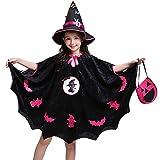 Riou Kinder Langarm Halloween Kostüm Top Set Baby Kleidung Set Kinder Baby Mädchen Halloween Kostüm Kleid Party Mantel + Hut Outfit + Kürbis Tasche (160, Schwarz)