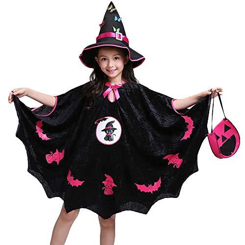 Riou Kinder Langarm Halloween Kostüm Top Set Baby Kleidung Set Kinder Baby Mädchen Halloween Kostüm Kleid Party Mantel + Hut Outfit + Kürbis Tasche (110, Schwarz)