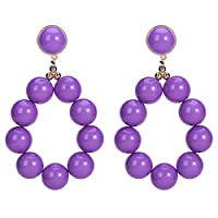 TALQF Ring Pearl Earrings Exaggerated Multi-layer Woven Resin Bead Earrings Ring Shape Alloy and Resin Made 8 * 4.8cm Q2E7NF (Color : Purple)