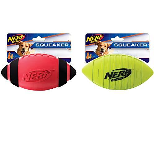 """Nerf Squeaker Football 7"""" 2/Pkg-Red & Green"""