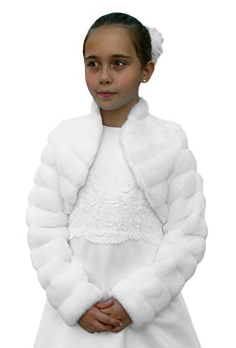 Kommunion-Jacke / Bolero aus Nerz-Imitat, Farbe weiß, Größe 140