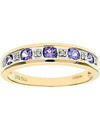 Naava 9ct Yellow Gold Tanzanite and Diamond Eternity Ring