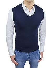 Gilet smanicato uomo sartoriale blu maglia cardigan formale casual d5ee62ab940