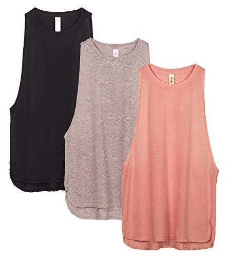 icyzone Sport Tank Top Damen Locker - Yoga Fitness Shirt Racerback Oberteile atmungsaktive (Black/Beige/Pale Blush, L)
