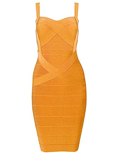 Whoinshop Frauen Rayon Nettes Sleeveless Bodycon Verband-Bügel-Kleid Orange M