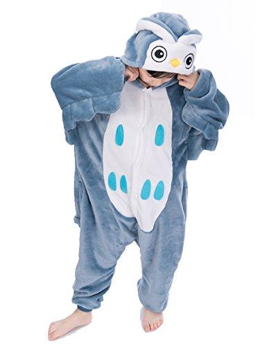 Tuopuda Kinder Kigurumi Pyjamas Tier Schlafanzug Jumpsuit Nachtwäsche Unisex Cosplay Kostüm für Mädchen und Jungen Halloween Karneval Fasching (S = 90 - 100 cm height, Eule)