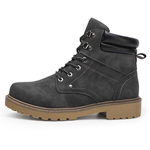 Los hombres Botas del tobillo otoño invierno Casual Martin Botas bajo recortar el tobillo plano Shoes By DoraMe (Gris, EU:44)