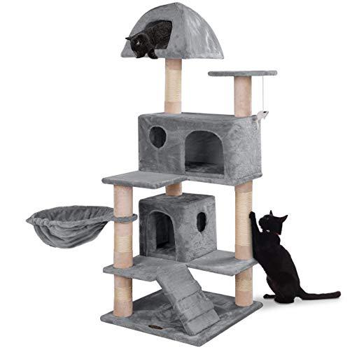 happypet® Kratzbaum für Katzen mittelgroß 143 cm hoch, Kletterbaum Katzenbaum für mehrere Katzen geeignet, Dicke Säulen mit Sisal ca. 8 cm, Liegemulde, Haus, Lauframpe, Spielmaus, GRAU