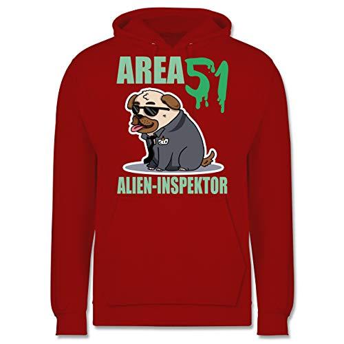 Nerds & Geeks - Area 51 Alien Inspektor Mops - M - Rot - JH001 - Herren - Nerd Kostüm College