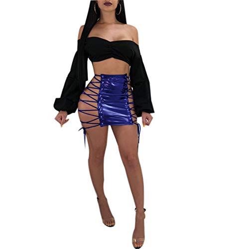 Frauen Seite aushöhlen Verband flüssige Metallic Wet Look schnüren PU Leder Rock Sexy Minirock ()