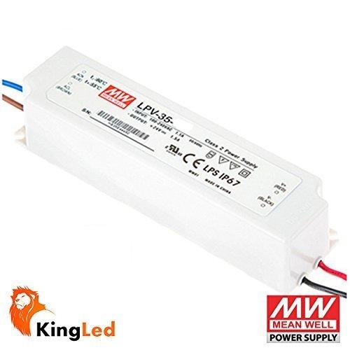 KingLed - Alimentatore Mean Well Impermeabile 35W 12V, Corrente Costante, Modello LPV-35-12, IP67, Trasformatore da Ac 220V a Dc 12V, Compatibile con Strip Led, Cod. 0594