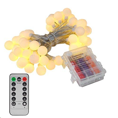 Led Globe Lichterkette Glühbirnen warmweiß 5 Meter 50er Deko Beleuchtung Kugel Batteriebetrieben COSANSYS Innen/Außenbeleuchtung mit Fernbedienung, Memory-Funktion für Weihnachten, Hochzeit, Party
